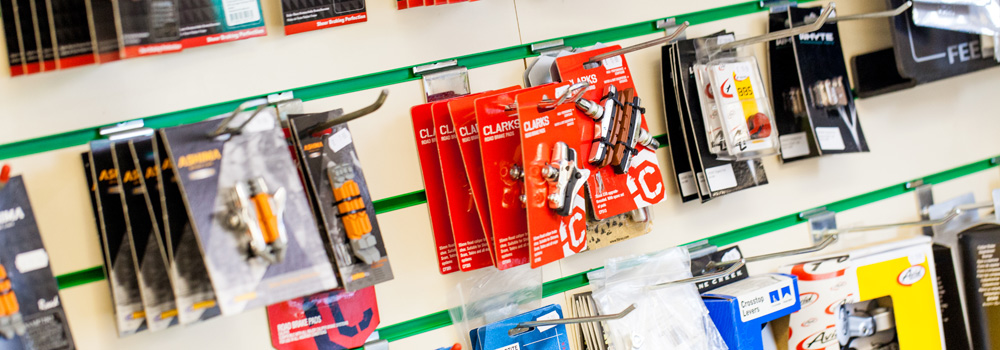 Large selection of bike components and accessories